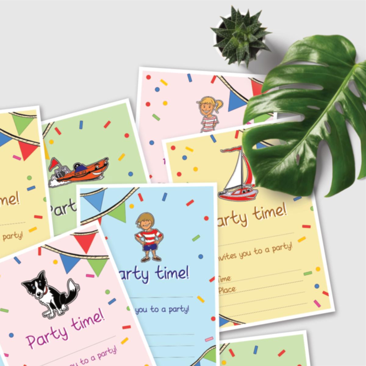 Printable invitations skipp the sailor with leaf