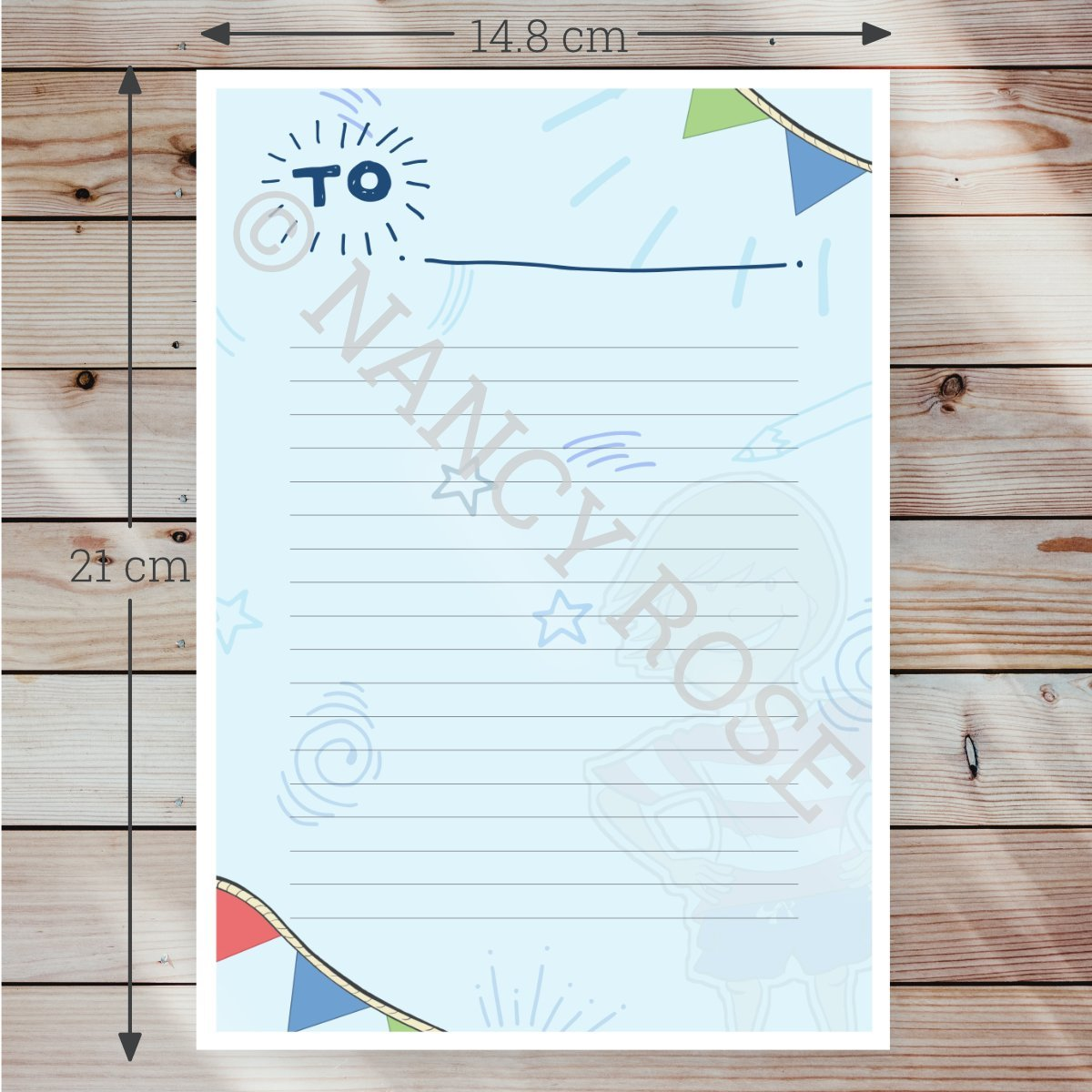 Skipp the Sailor letter paper with scale